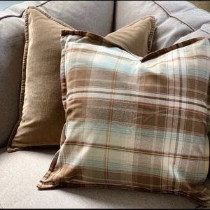 Two plaid pottery barn pillows.